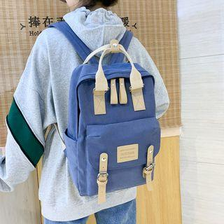 Top Handle Buckled Nylon Backpack