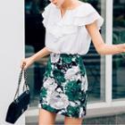 Printed Linen Blend Mini Pencil Skirt