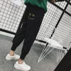 Smiley Face Embroidered Jogger Pants