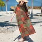 Ethnic Pattern Elbow-sleeve Dress