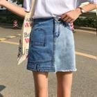 Asymmetrical A-line Washed Denim Skirt