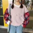 Plaid Panel Sweatshirt
