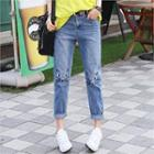 Cat Embroidered Baggy Jeans