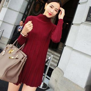 Mock-neck Ribbed Knit Dress
