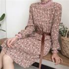 Floral Print Long-sleeve Mock-neck Dress