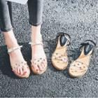 Studded Transparent Wedge Sandals