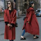 Waist-tie Plain Hooded Woolen Coat