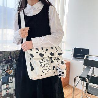 Cow Print Canvas Messenger Bag