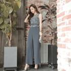 Lace Panel Sleeveless Wide Leg Jumpsuit