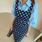 Polka-dot Fitted Pinafore Dress