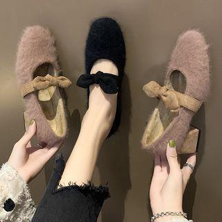 Bow Block Heel Furry Mary Jane Pumps