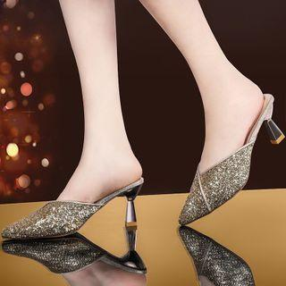Pointed Glitter Flared Heel Mules