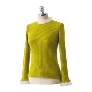 Lace-trim Rib-knit Top