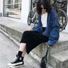 Knit Back-slit Midi H-line Skirt