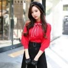 3/4-sleeve Bow-neck Knit Top