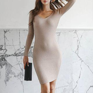 Long-sleeve Ribbed Mini Knit Dress Khaki - One Size