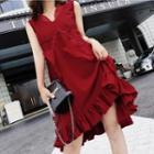 Plain Ruffle Hem Sleeveless Chiffon Dress