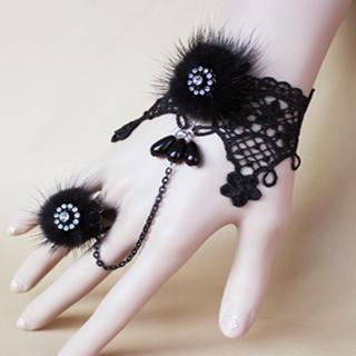 Fur Lace Shinny Bracelet & Ring Set  Black - One Size