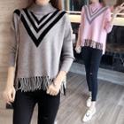 Long-sleeve Fringe Knit Top