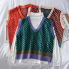 Loose-fit Patterned Knit Vest
