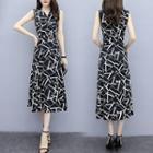 V-neck Patterned Sleeveless Midi A-line Dress