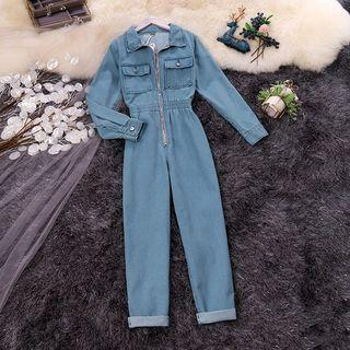 Long-sleeve Straight-cut Denim Jumpsuit