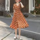 Drawstring Polka Dot Dress
