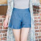 Lace Trim Plain Shorts