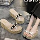Espadrille Platform Wedge Slide Sandals