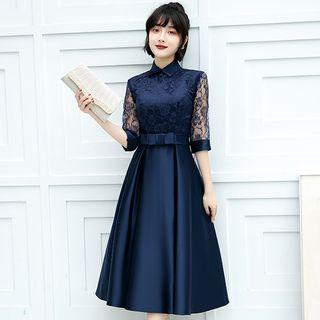 Lace-sleeve Collared Midi A-line Dress