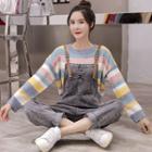 Striped Sweater / Denim Jumper Pants / Set
