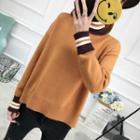 Turtleneck Contrast-trim Slit-side Sweater