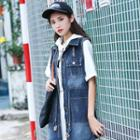 Sleeveless Long Denim Jacket