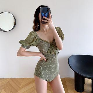 Dotted Puff-sleeve Ribbon Swimsuit