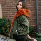 Detachable Faux-fur Hooded Flight Jacket