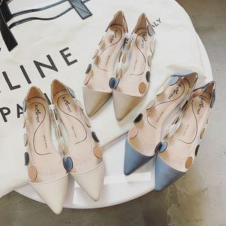 Pointy-toe Dotted Flats
