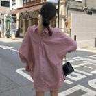 Long-sleeve Double-collar Mini Shirtdress Pink - One Size