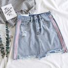 Colored Panel Denim Shorts