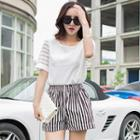 Set: Short-sleeve Top + Striped Shorts