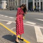 Long-sleeve Drawstring Polka Dot Chiffon Dress