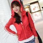 Hooded Striped-trim Jacket