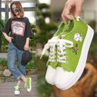 Cat Lace Up Canvas Sneakers