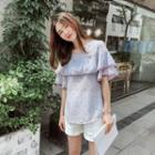 Piped Ruffle Short-sleeve Chiffon Top