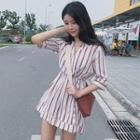 Striped Elbow-sleeve Playsuit