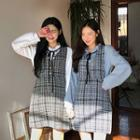 Buttoned Tweed Mini Pinafore Dress