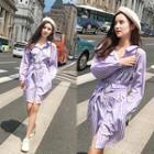 Stripe Shirtdress With Belt Purple - One Size