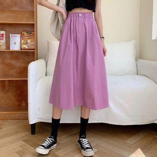 A-line Midi Skirt Purple - One Size