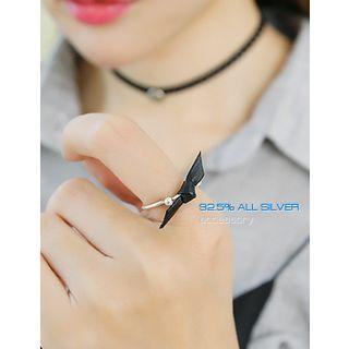 Faux-leather Bow Silver Ring