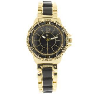 Crystal Covered Wrist Watch Gold & Black - One Size
