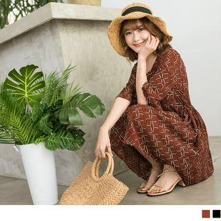 Bell Sleeve Pattern Print Dress